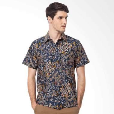 Asana Short Sleeve Batik Prima Cotton Batik Pria - Navy