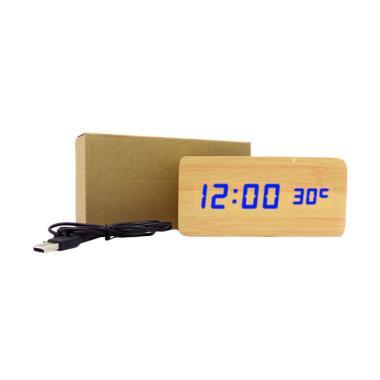 Wooden Digital Clock LED Biru Jam Kayu Digital Besar - Cream