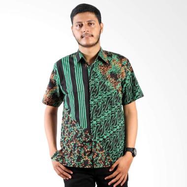 Batik Nulaba Garis Sekar Kemeja Batik Cap Pria - Hijau C4