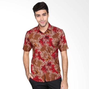 Parama Batik Slim Fit Batik Pria Lengan Pendek - Merah
