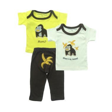 Bearhug Monkey Mom? Set Pakaian Bayi Laki-laki [3 pcs] - Kuning