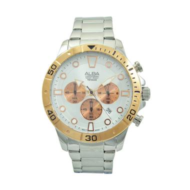ALBA AT3A08 Stainless Steel Jam Tangan Pria - Silver Rosegold