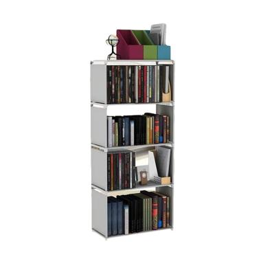 Godric Single Rak Buku Portable 4 Susun - Grey [50.5 x 30.5 x 144 cm]