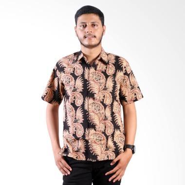 Batik Nulaba Cap Kembang Cakar Kemeja Pria Lengan Pendek