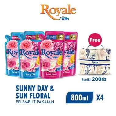 harga SOKLIN Royale Softener Sunny Day Pouch [800 mL - 2 pcs] + SOKLIN Royale Softener Sweet Floral Pouch [800 mL - 2 pcs] + Freegood - Tas Dior Royale Blibli.com
