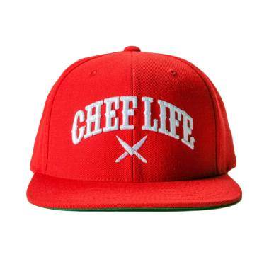 Jersi Clothing Chef Life Snapback Topi Pria - Red