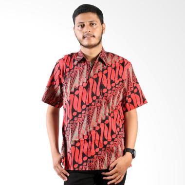 Batik Cap Parang Layar Merah Kemeja Lengan Pendek Pria - Black Red