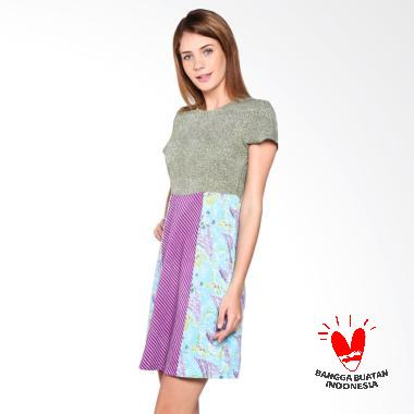 Tobal Batik Motif Bunga Kipas Dot Garis Kombi Dress