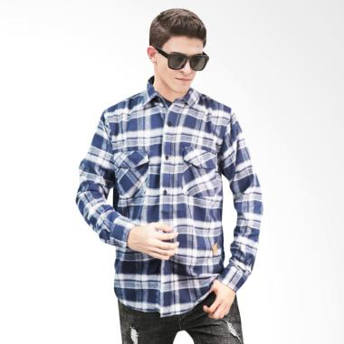Adamsbell Flanel Shirt Panjang Kemeja Pria - Biru Putih