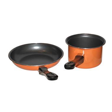 Maspion Pastela Set Fry Pan dan Milk Pan - Orange [20 dan 14 cm]