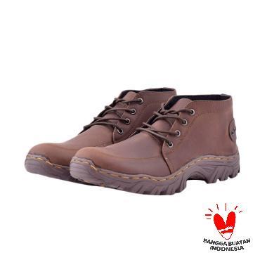 Azcost Sepatu Boots Kulit Azcost Jakualo - Brown