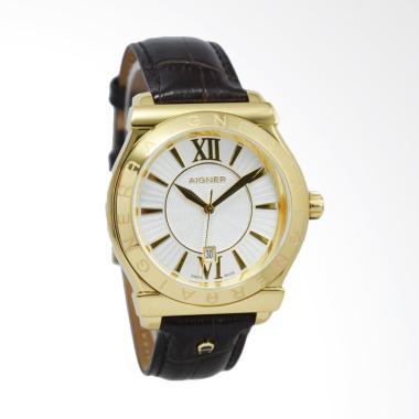 Aigner Bolzano Leather Jam Tangan Pria - Dark Brown Gold [A24116D]