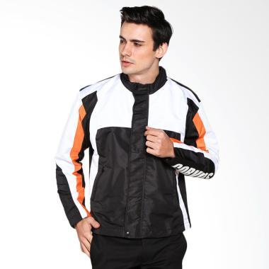 Corvus Arya Jaket Motor - White Black Stripe Orange - strlgt
