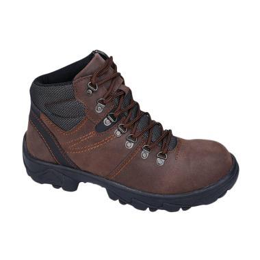 Syaqinah 75 Kulit Safety Boots Pria - Coklat