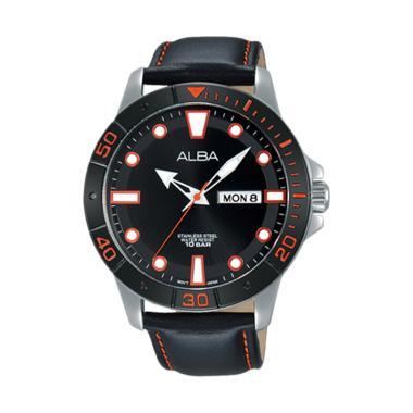 Alba AT2045X1 Analog Quartz Starp Leather Jam Tangan Pria - Hitam