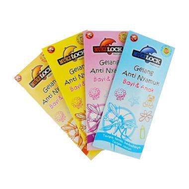 Mukzlock Gelang Pengusir Nyamuk Balita - 4 Pcs (Biru, Kuning, Pink, Peach)