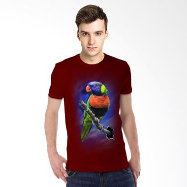 T-Shirt Glory Kaos 3D Burung Colour Maroon