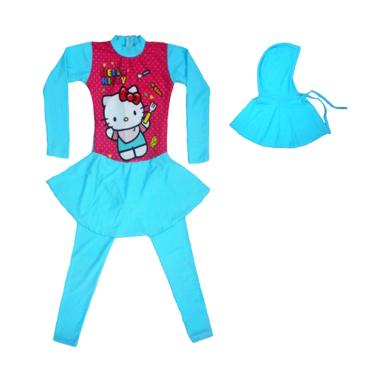 Nice ABG Motif Hello Kitty Baju Renang Muslim  - Biru Muda