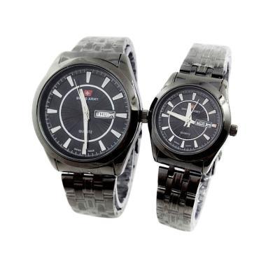 Swiss Army SA 6051 Couple Jam Tangan Watch - Black Gold