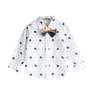 GBS Burberry Kemeja Plus Tie Baju Atasan Anak Laki-laki - White