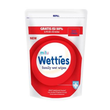 PROMO Mitu Wetties Wet Tissue Refill 90's - Antiseptic Plus