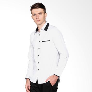 VM NF-185 Long Shirt Slimfit Kemeja Lengan Panjang Pria - Putih