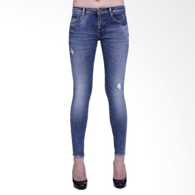 Mandalay R10 Premium Ripped Jeans Celana Wanita  - Dark Blue