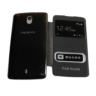 OPPO Sview Flip Cover Casing for Oppo Find Muse R821 - Black