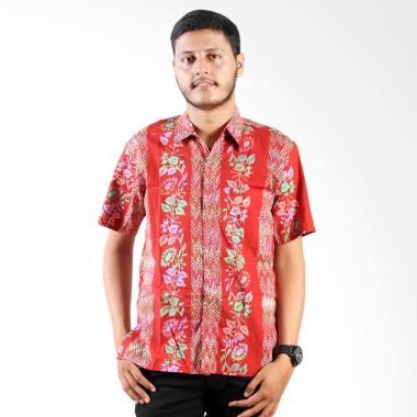Batik Distro Cap Lengan Pendek SBY Bunga Pelangi Kemeja Pria - Merah
