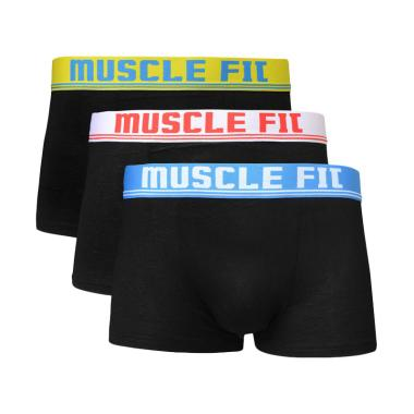 Muscle Fit Celana Dalam Pria Fit MFBX 108 Boxer  - Hitam [3 Pcs]