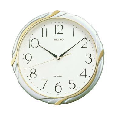 SEIKO QXA221S Wall Clock Jam Dinding - Metallic Gold Silver [30 cm ]