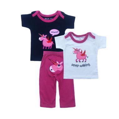 Bearhug Kuda Bersayap Set Pakaian Bayi Perempuan [3 pcs] - Navy
