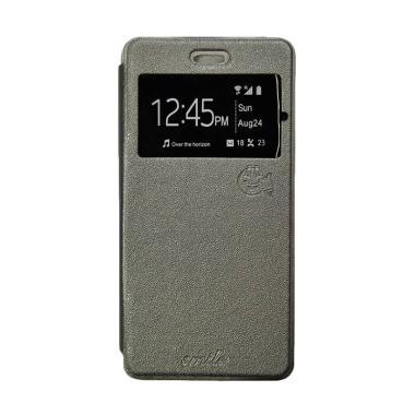 Smile Flip Cover Casing for Samsung Galaxy Alpha G580 - Abu-abu