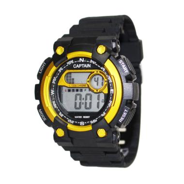 Captain Jam Tangan Sporty Pria Water Resistant Sporty - Hitam Gold
