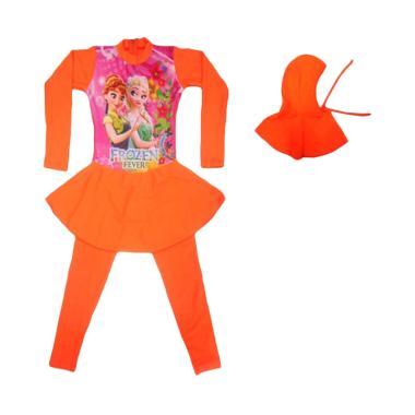 Nice Motif Frozen Baju Renang Muslim Anak Perempuan - Orange