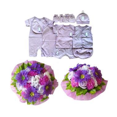 Baby Buket Bunga Gift Set Pakaian Bayi - Premium Purple