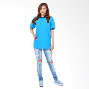 Jfashion Basic Simpel Elegan Kaos Polo Wanita - Biru Muda