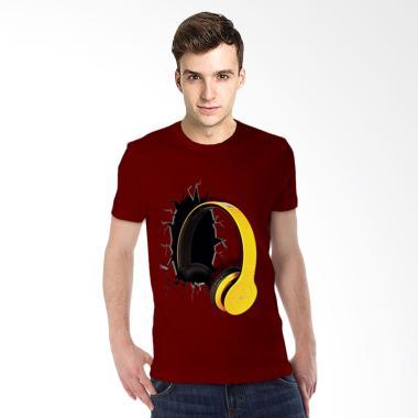 T-Shirt Glory 3D Airphone Drag Kaos Pria - Maroon