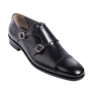 Andretelli Men Double Monk Strap Leather Shoes - Black