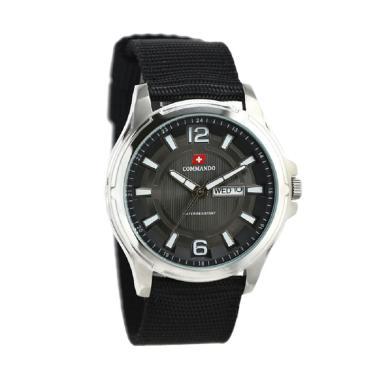 Commando C2103G Jam Tangan Pria - Hitam Ring Silver Plat Hitam