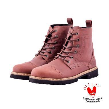 Azcost Sepatu Boots Kulit Asli Azcost Pedro - Brown