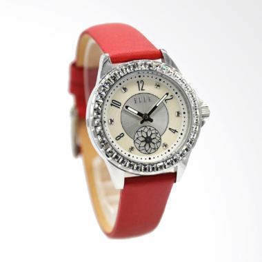 Elle EL20371S04C Jam Tangan Wanita Leather Strap - Merah Ring Silver