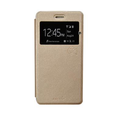 SMILE Flip Cover Casing for Oppo F3 Plus or R9s Plus - Gold