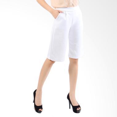 Jfashion Women's Basic Cropped Cullotes Pants - Putih