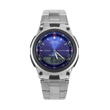 Casio Stainless Steel Jam Tangan Pria AW-80D-2AVDF - Silver Blue