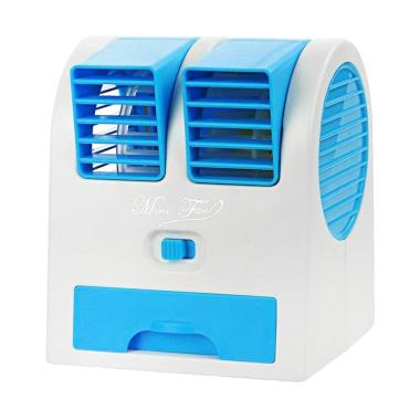 Wanky Fan AC Portable with USB and AA Battery Powered - Biru