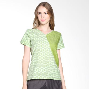 Blossom Light Green Geometric Batik Blouse 1 Accept - Green