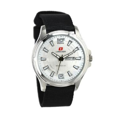 Commando C2103G Jam Tangan Pria - Hitam Ring Silver Plat Putih