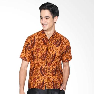 Batik Distro K8059 Kemeja Pria Jarik Lengan Pendek - Coklat