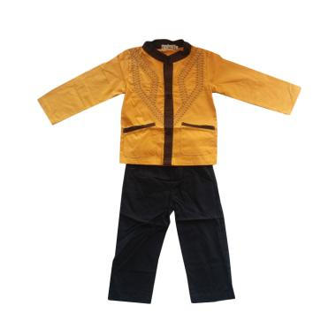 L Nice Koko Boys Atasan Yellow Set Pants Baju Koko Anak - Black